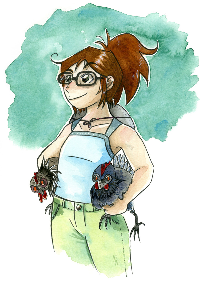 A self portrait of the artist, holding a chickens under each arm