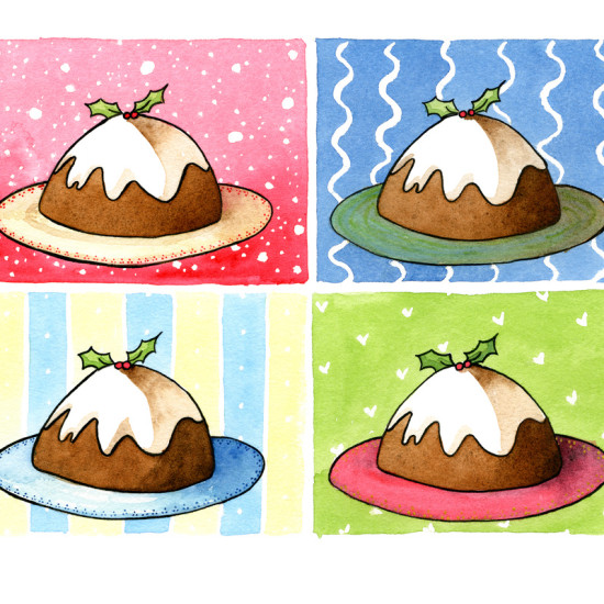 4 Christmas Puddings on various backgrounds.