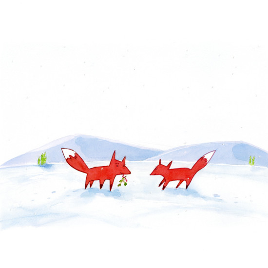A watercolour painting of two foxes meeting in the snow.