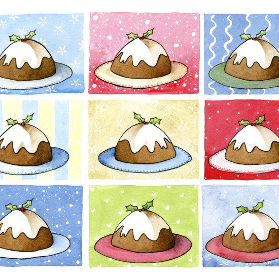 9 Christmas Puddings on various backgrounds.
