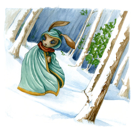A rabbit, wrapped in his cloak presses on through a winter storm.